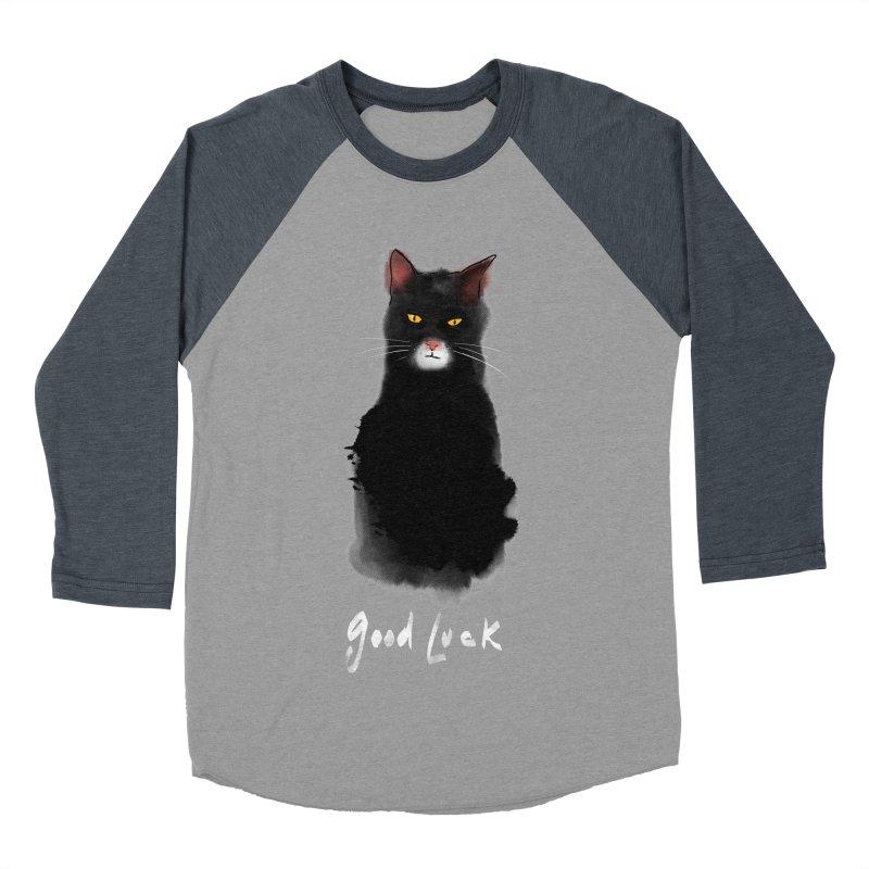 lucky cat Men's Baseball Triblend T-Shirt by kharmazero's Artist Shop