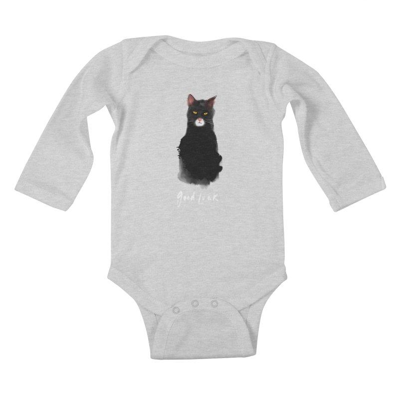 lucky cat Kids Baby Longsleeve Bodysuit by kharmazero's Artist Shop
