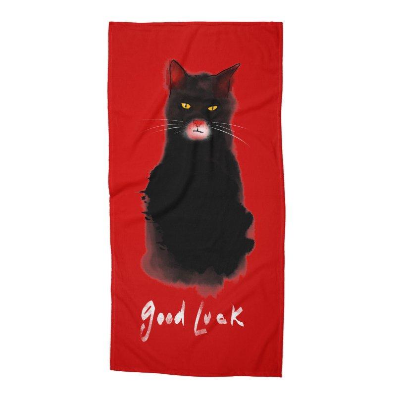 lucky cat Accessories Beach Towel by kharmazero's Artist Shop