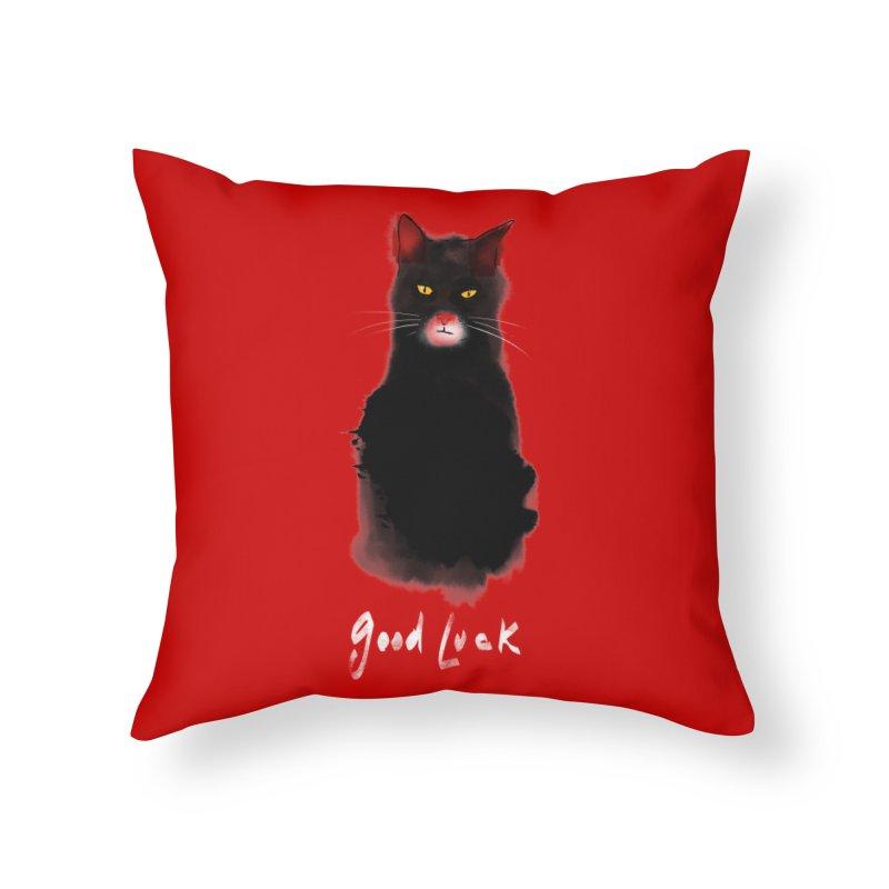 lucky cat Home Throw Pillow by kharmazero's Artist Shop