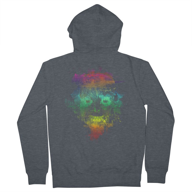 neon skully Men's Zip-Up Hoody by kharmazero's Artist Shop