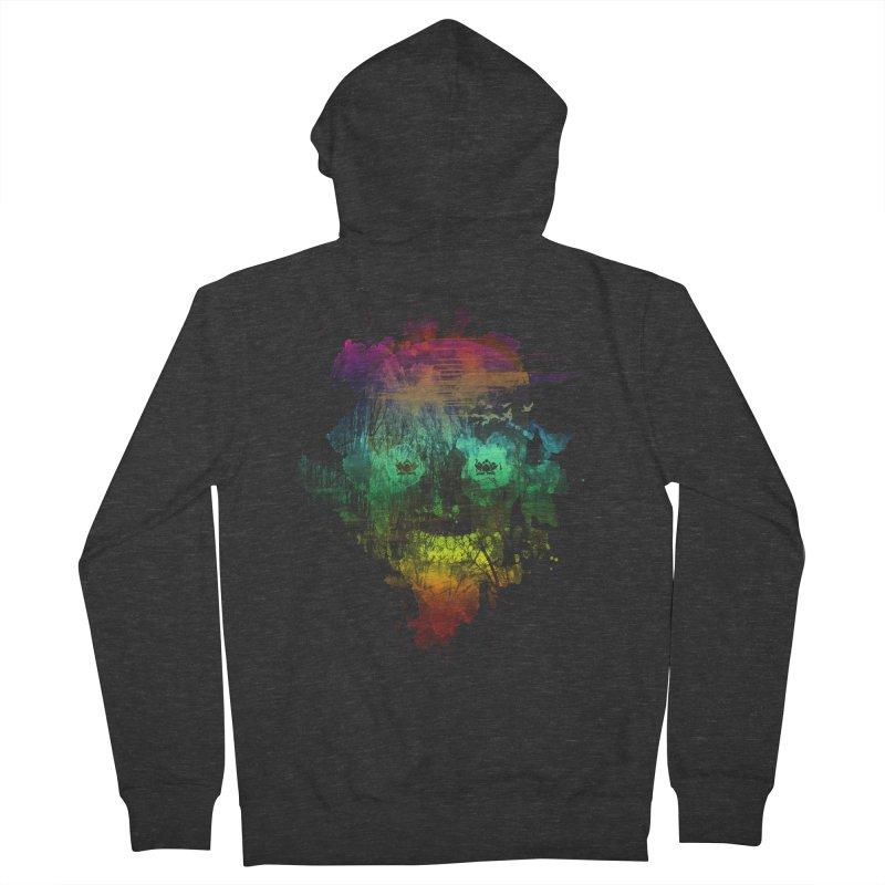 neon skully Men's Zip-Up Hoody by kharmazero's Artist Shop