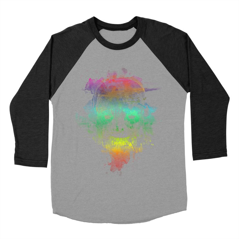 neon skully Women's Baseball Triblend T-Shirt by kharmazero's Artist Shop