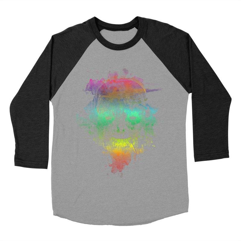 neon skully Men's Baseball Triblend T-Shirt by kharmazero's Artist Shop