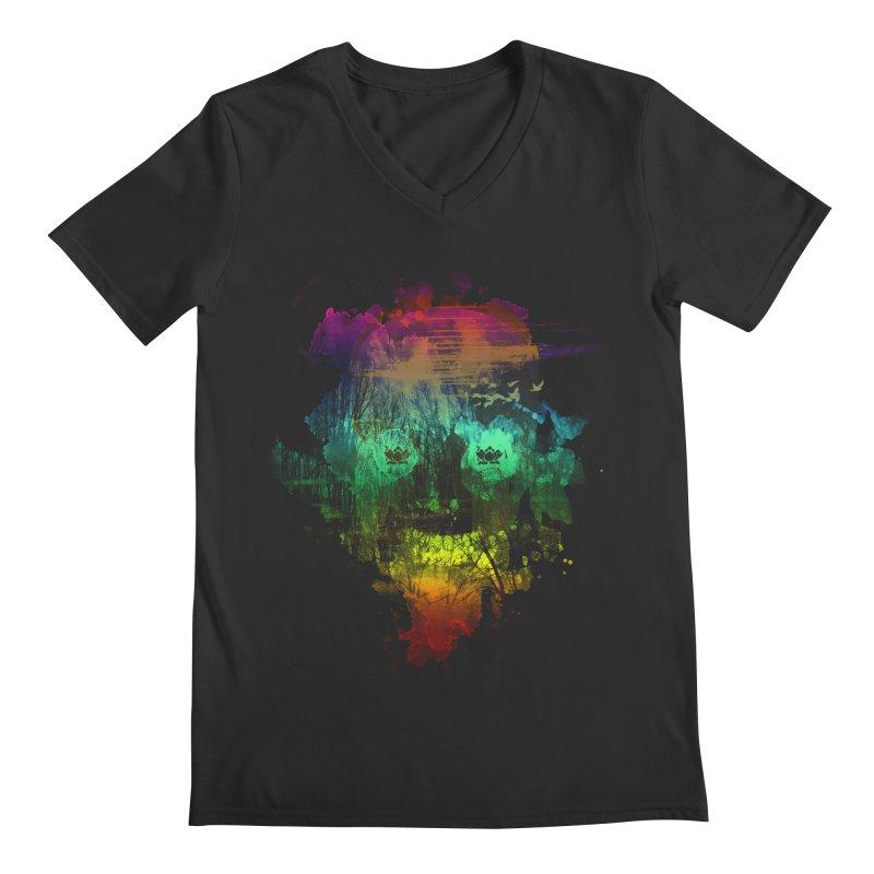 neon skully Men's V-Neck by kharmazero's Artist Shop