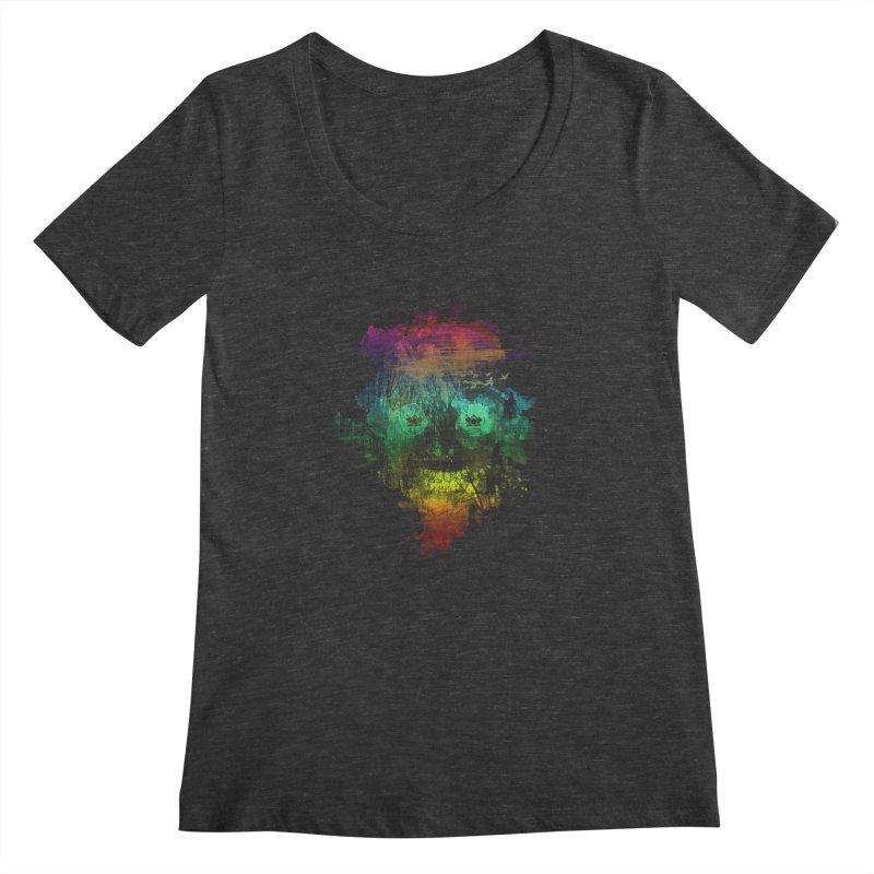 neon skully Women's Scoopneck by kharmazero's Artist Shop