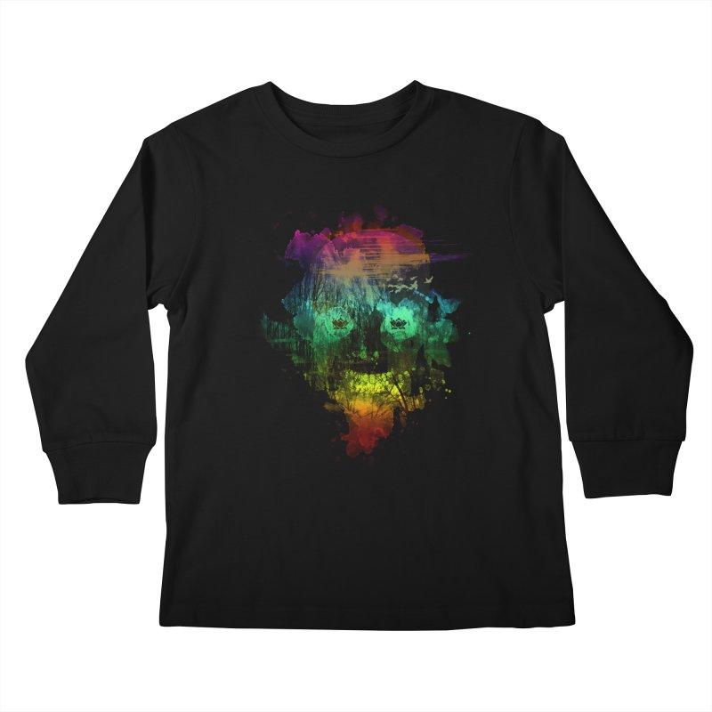 neon skully Kids Longsleeve T-Shirt by kharmazero's Artist Shop