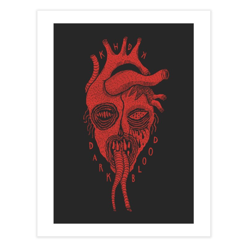 KHDK Dark Blood Heart Wall Art 1 Home Fine Art Print by KHDK