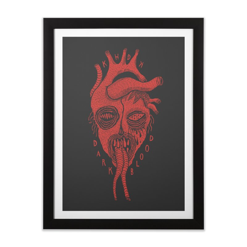 KHDK Dark Blood Heart Wall Art 1 in Framed Fine Art Print Black by KHDK
