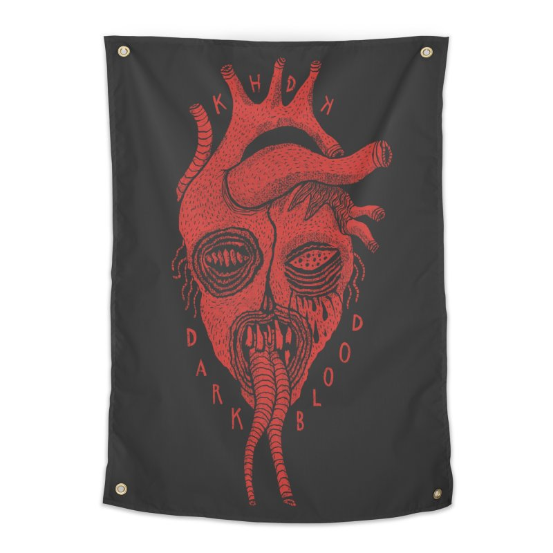 KHDK Dark Blood Heart Wall Art 1 Home Tapestry by KHDK