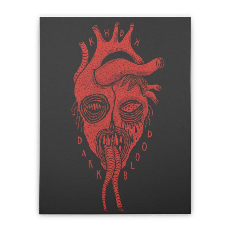 KHDK Dark Blood Heart Wall Art 1 Home Stretched Canvas by KHDK