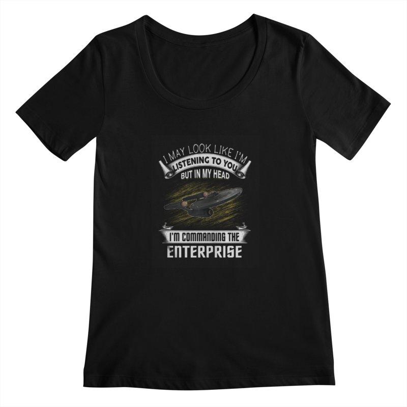 Commanding the Enterprise Women's Scoopneck by khurst's Artist Shop