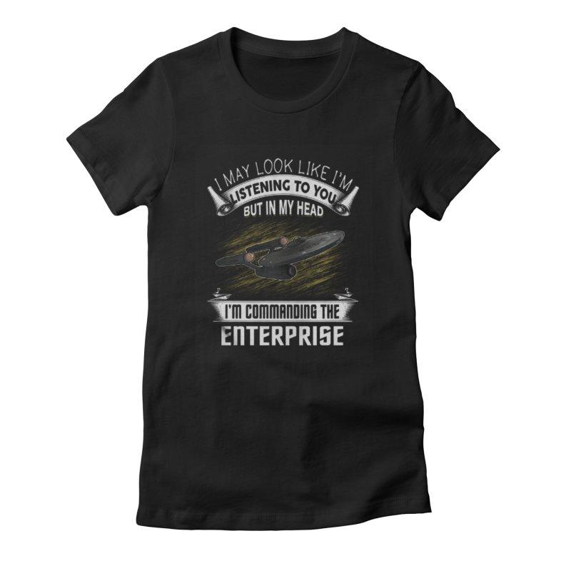 Commanding the Enterprise Women's Fitted T-Shirt by khurst's Artist Shop