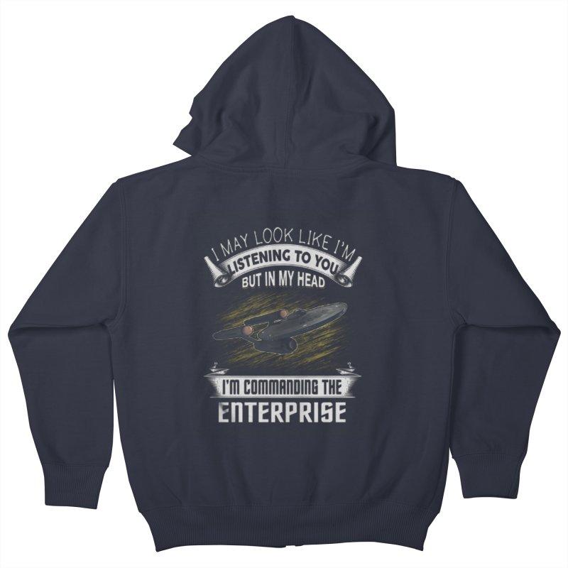 Commanding the Enterprise Kids Zip-Up Hoody by khurst's Artist Shop