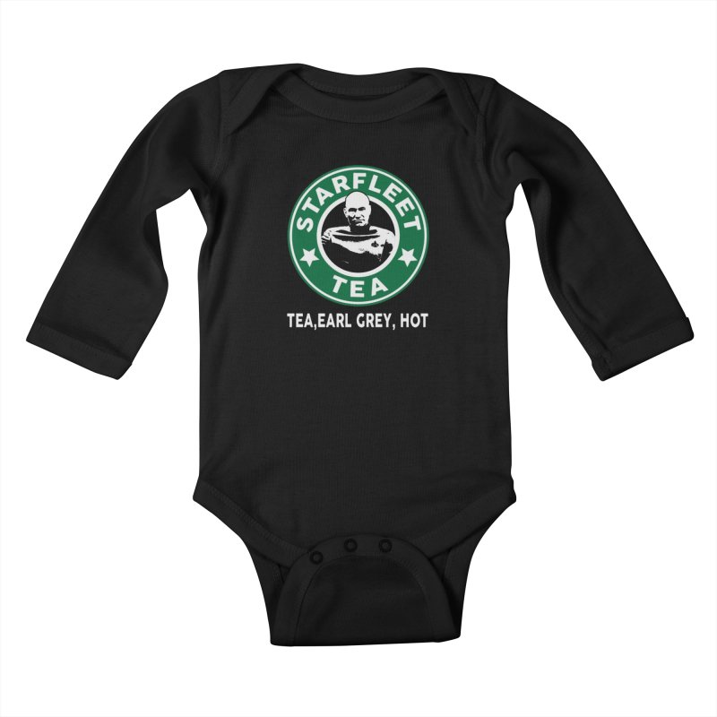 Picard's Starfleet Tea Kids Baby Longsleeve Bodysuit by khurst's Artist Shop