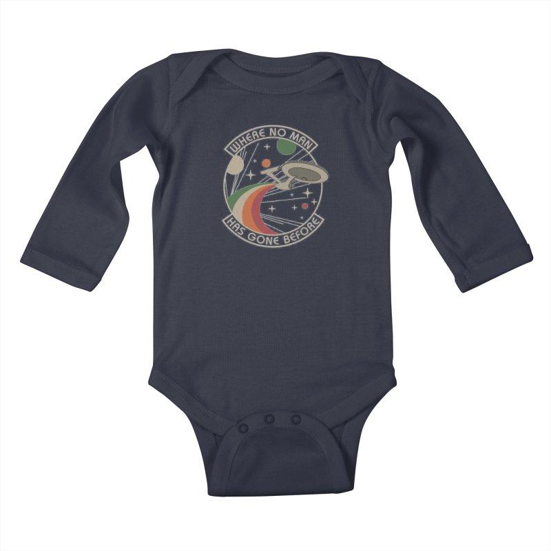 Where No Man Has Gone Before Kids Baby Longsleeve Bodysuit by khurst's Artist Shop