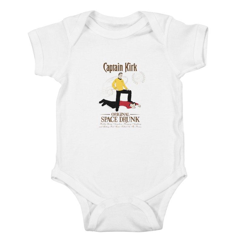 Captain Kirk - Original Space Drunk Kids Baby Bodysuit by khurst's Artist Shop