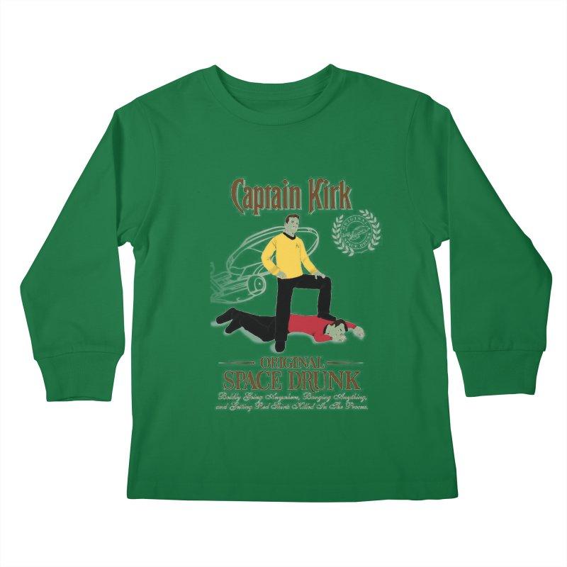 Captain Kirk - Original Space Drunk Kids Longsleeve T-Shirt by khurst's Artist Shop