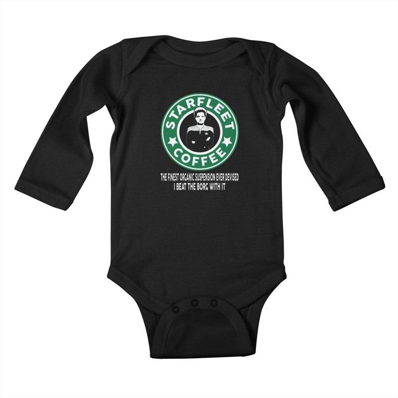 Kathryn Janeway's Starfleet Coffee Kids Baby Longsleeve Bodysuit by khurst's Artist Shop