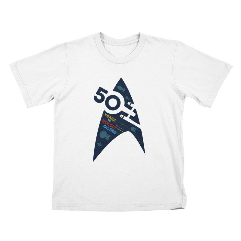 50 Years of Boldly Going Kids T-shirt by khurst's Artist Shop