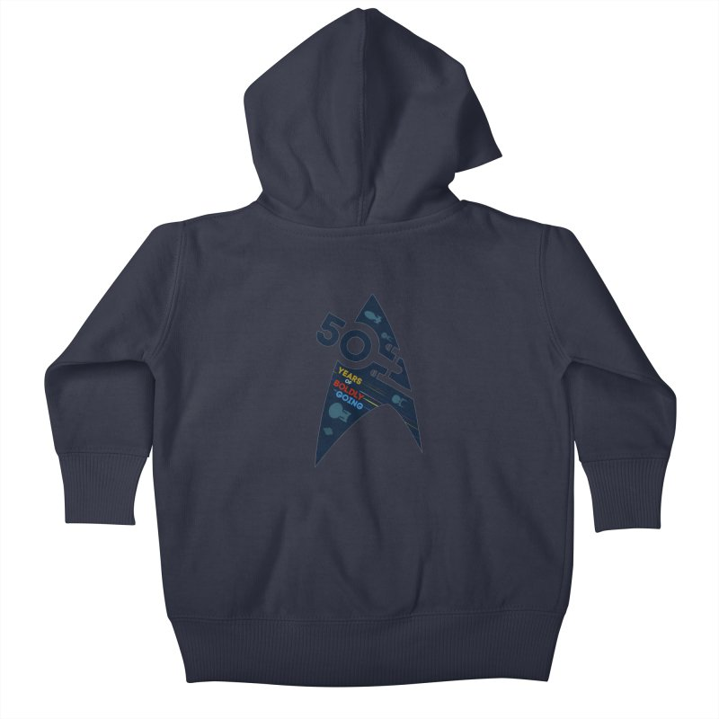 50 Years of Boldly Going Kids Baby Zip-Up Hoody by khurst's Artist Shop