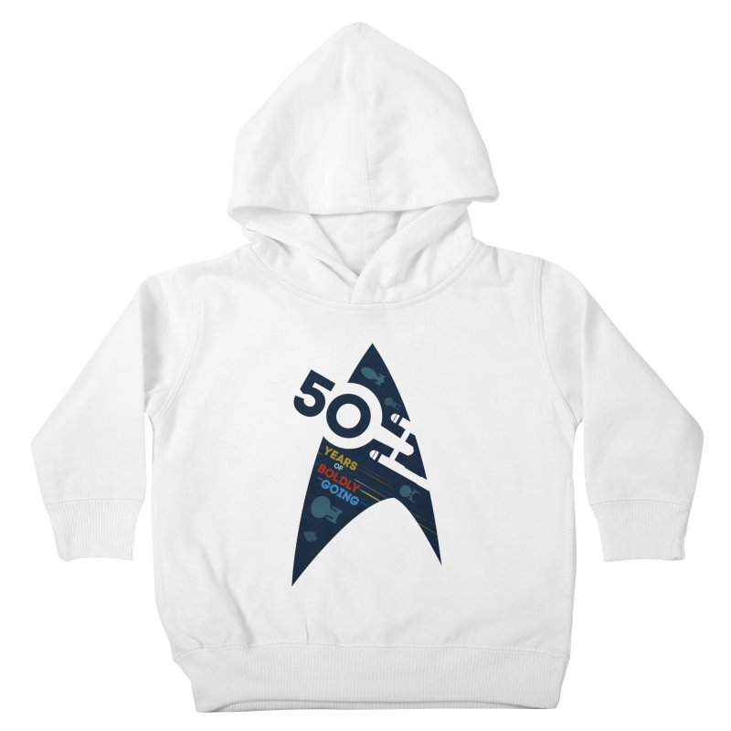 50 Years of Boldly Going Kids Toddler Pullover Hoody by khurst's Artist Shop