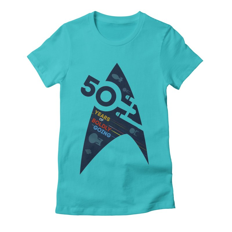 50 Years of Boldly Going Women's Fitted T-Shirt by khurst's Artist Shop