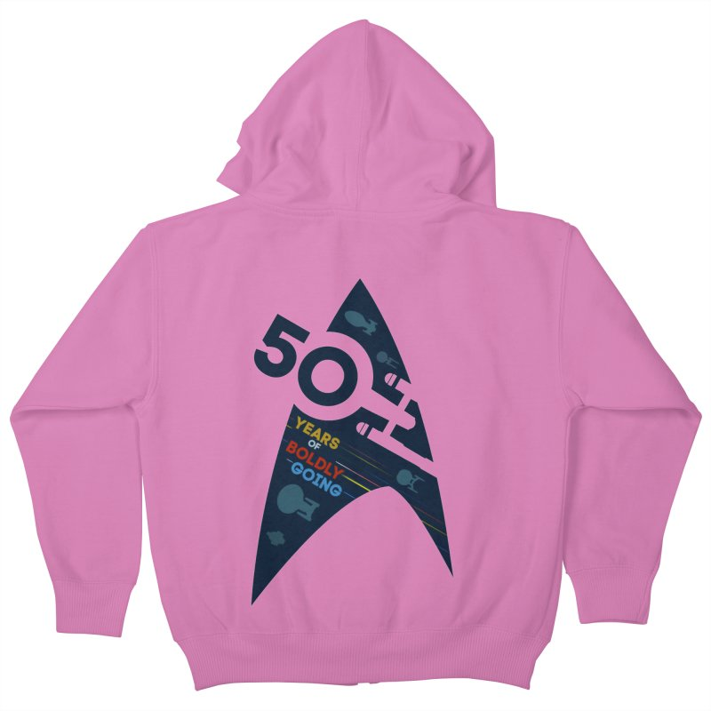 50 Years of Boldly Going Kids Zip-Up Hoody by To Boldly Merch