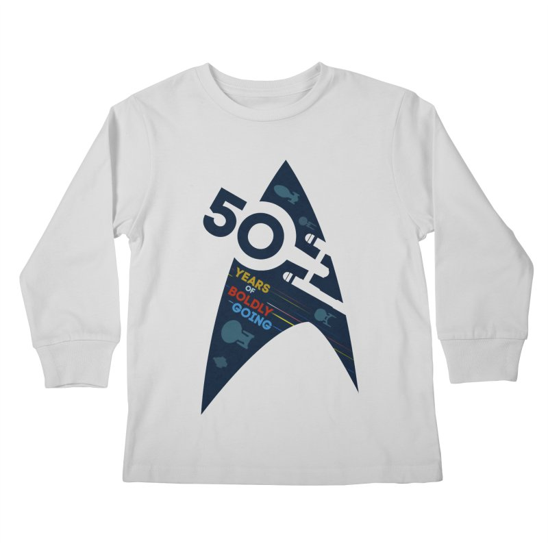 50 Years of Boldly Going Kids Longsleeve T-Shirt by khurst's Artist Shop