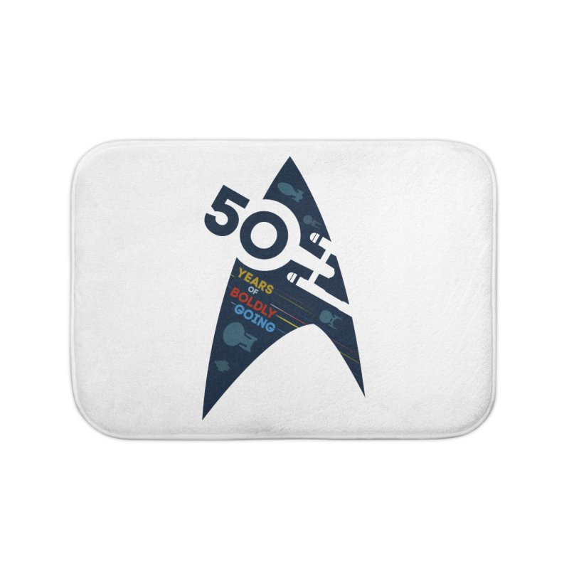 50 Years of Boldly Going Home Bath Mat by khurst's Artist Shop
