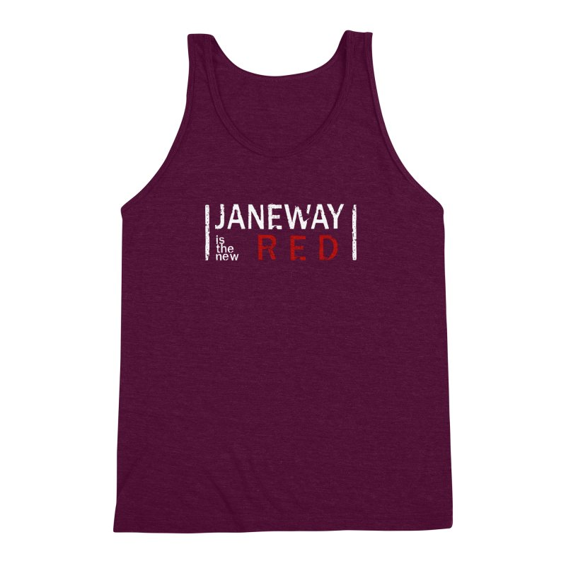 Janeway is the new Red Men's Triblend Tank by To Boldly Merch