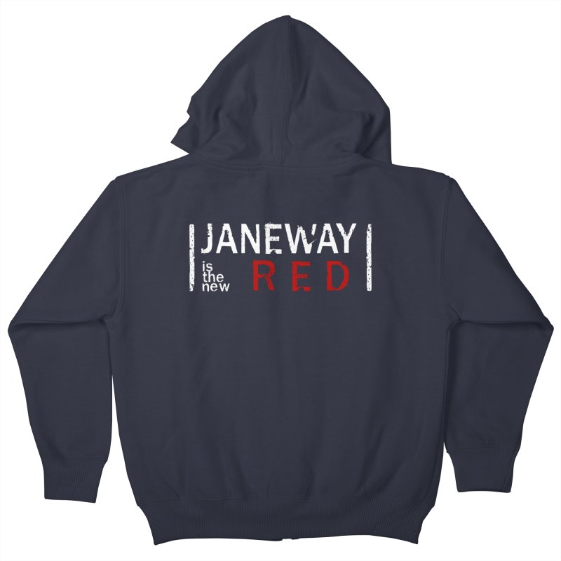 Janeway is the new Red Kids Zip-Up Hoody by To Boldly Merch