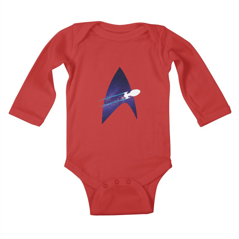 Voyager Warp Delta Kids Baby Longsleeve Bodysuit by To Boldly Merch