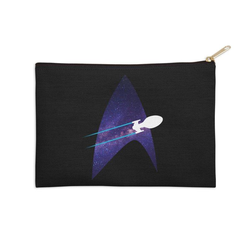 Voyager Warp Delta Accessories Zip Pouch by To Boldly Merch