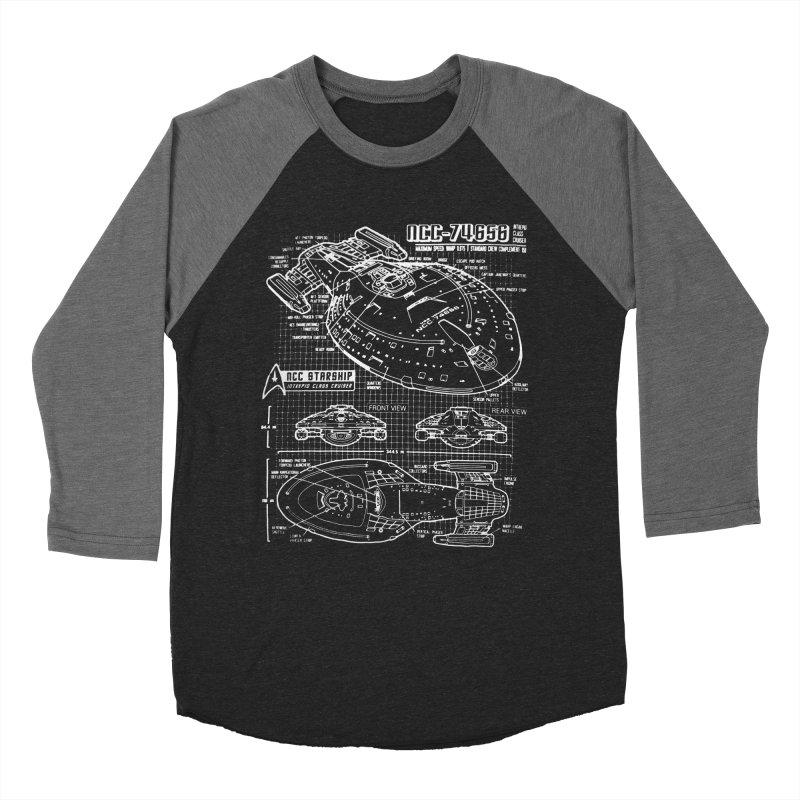 Star Trek Voyager Blueprint Men's Baseball Triblend T-Shirt by To Boldly Merch