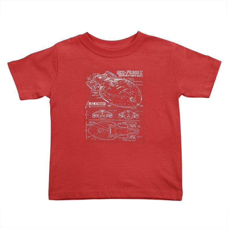 Star Trek Voyager Blueprint Kids Toddler T-Shirt by To Boldly Merch
