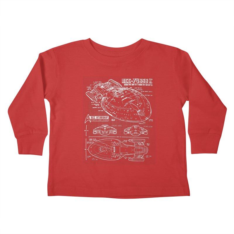 Star Trek Voyager Blueprint Kids Toddler Longsleeve T-Shirt by To Boldly Merch