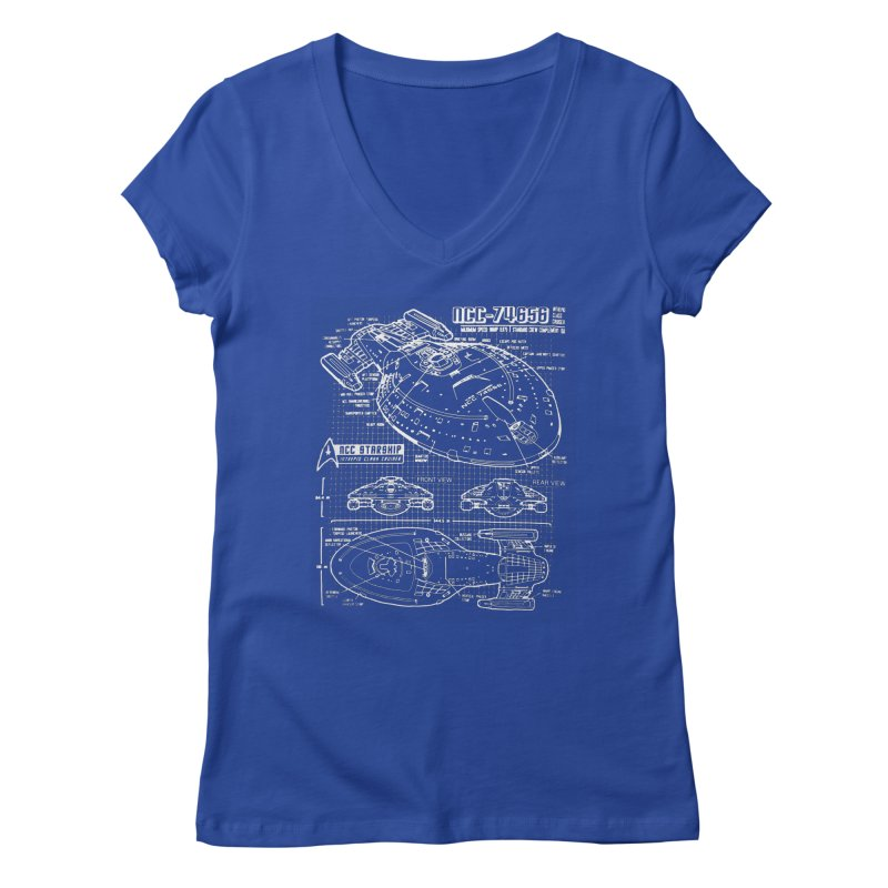 Star Trek Voyager Blueprint Women's V-Neck by To Boldly Merch