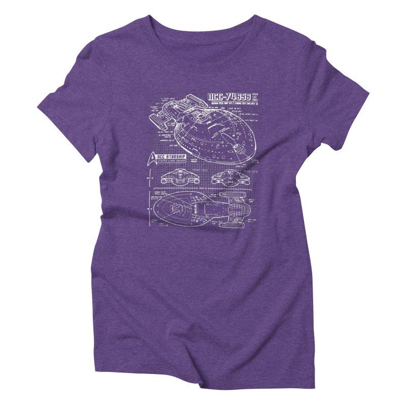 Star Trek Voyager Blueprint Women's Triblend T-Shirt by To Boldly Merch