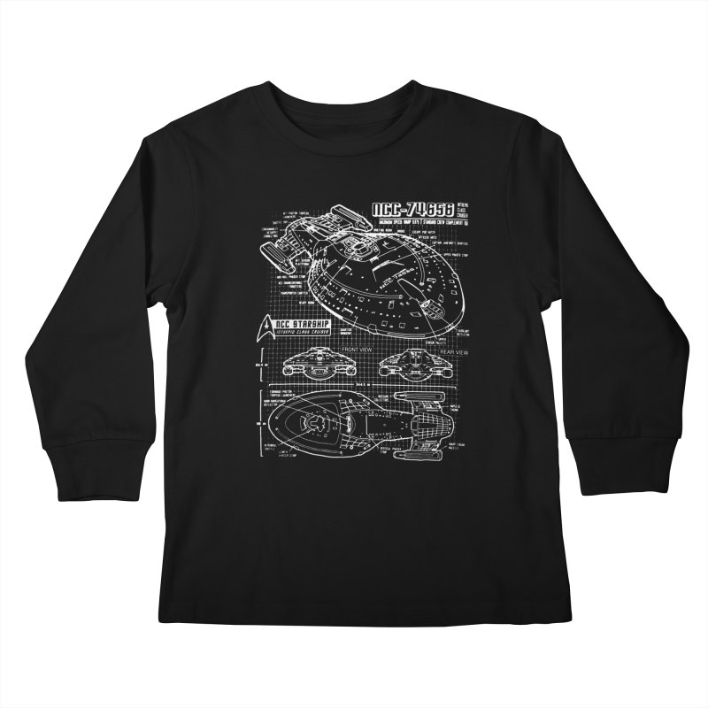 Star Trek Voyager Blueprint Kids Longsleeve T-Shirt by To Boldly Merch