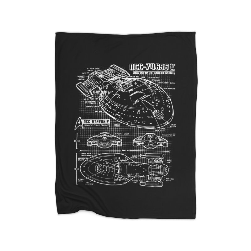 Star Trek Voyager Blueprint Home Blanket by To Boldly Merch