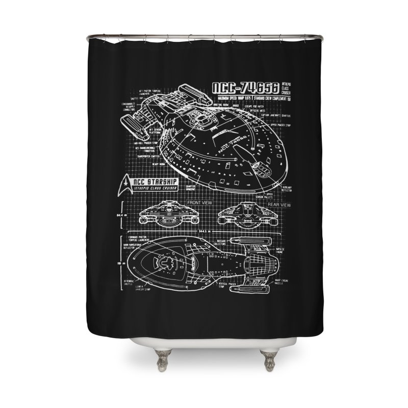 Star Trek Voyager Blueprint Home Shower Curtain by To Boldly Merch