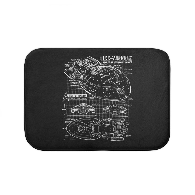 Star Trek Voyager Blueprint Home Bath Mat by To Boldly Merch