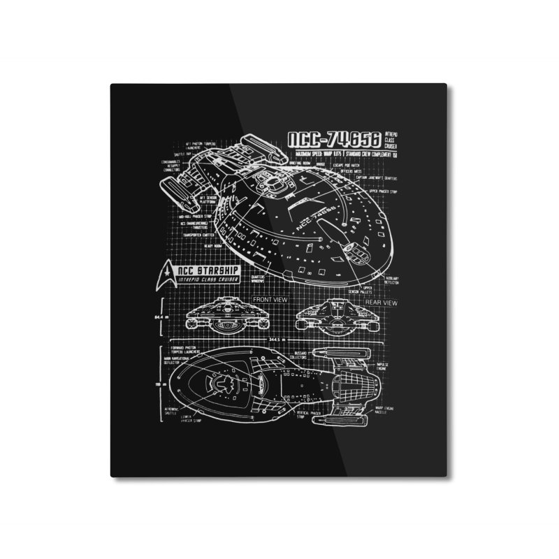 Star Trek Voyager Blueprint Home Mounted Aluminum Print by To Boldly Merch