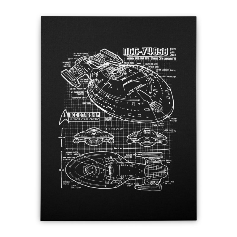 Star Trek Voyager Blueprint Home Stretched Canvas by To Boldly Merch