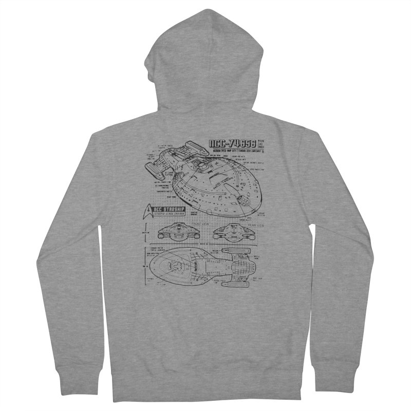 USS Voyager NCC-74656 blueprint Men's Zip-Up Hoody by To Boldly Merch