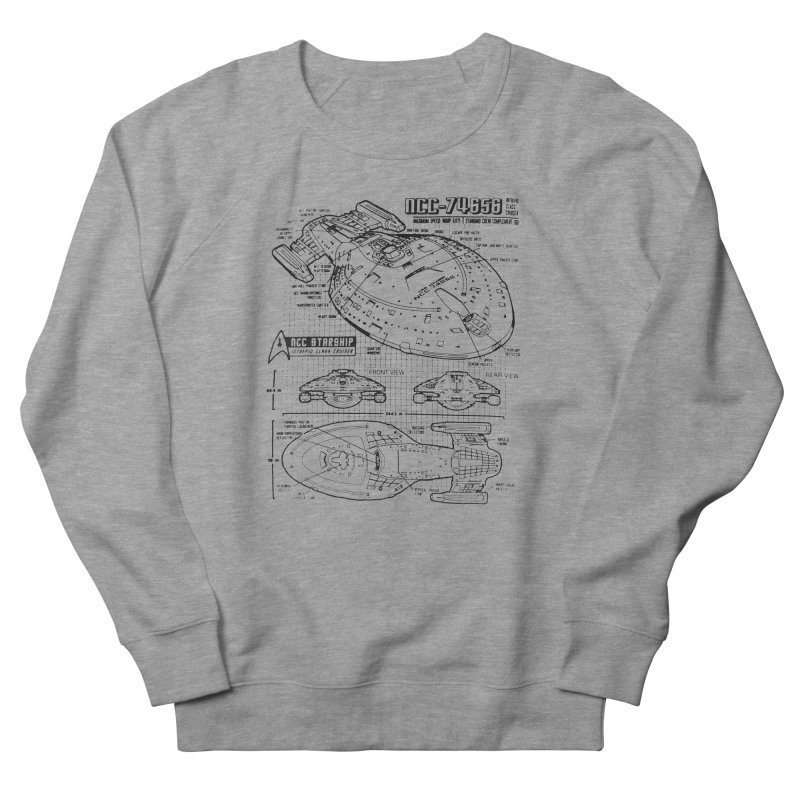 USS Voyager NCC-74656 blueprint Men's Sweatshirt by To Boldly Merch