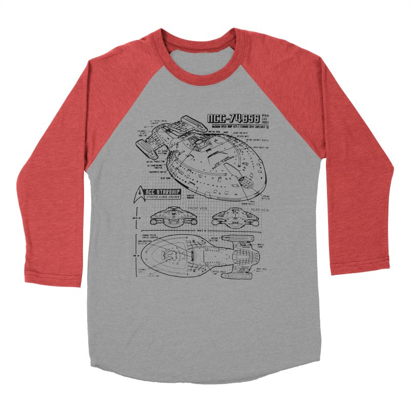 USS Voyager NCC-74656 blueprint Men's Baseball Triblend T-Shirt by To Boldly Merch