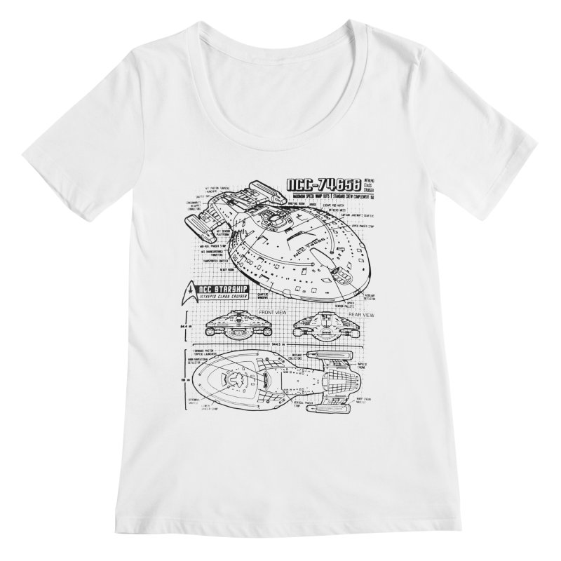 USS Voyager NCC-74656 blueprint Women's Scoopneck by To Boldly Merch