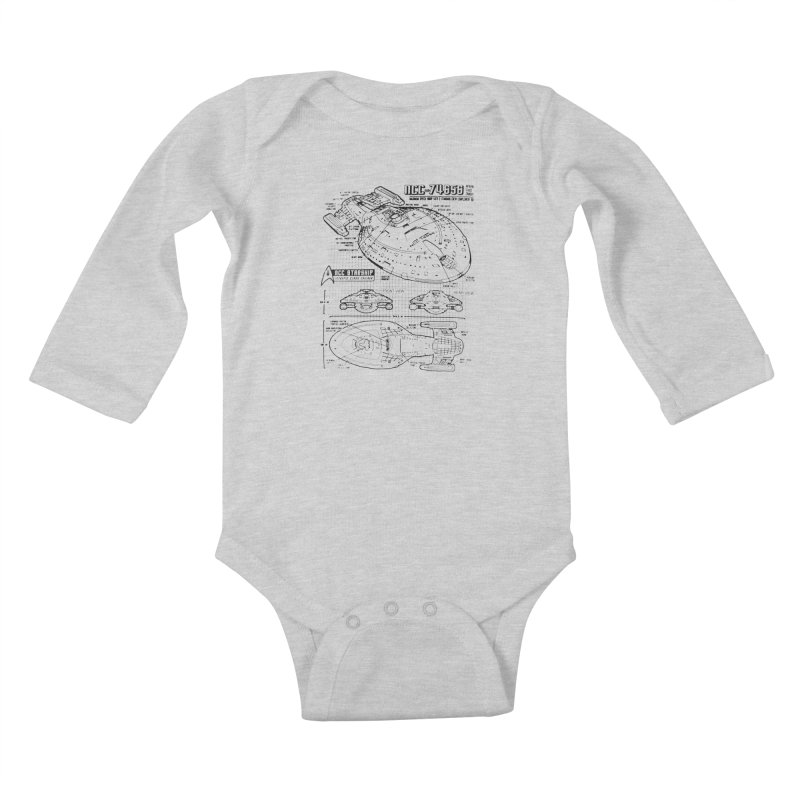 USS Voyager NCC-74656 blueprint Kids Baby Longsleeve Bodysuit by To Boldly Merch